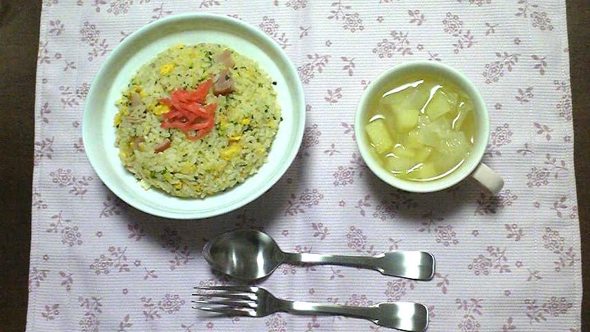 夕食(チャーハン&野菜スープ).jpg